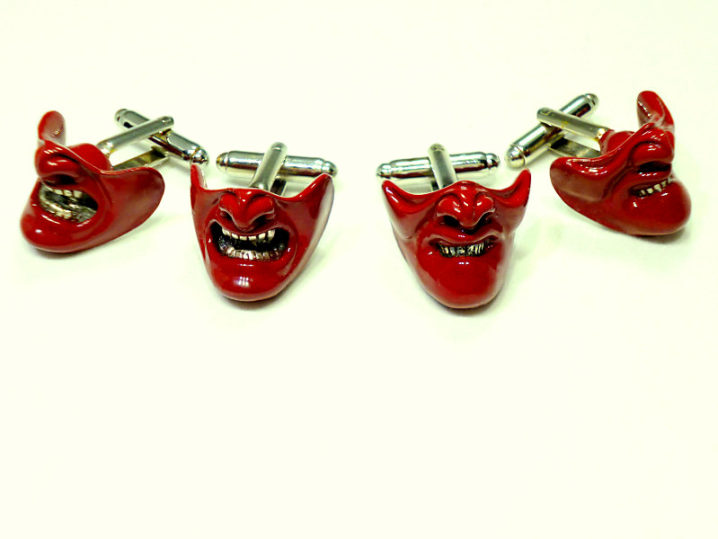 Pair of Samurai Mask cufflinks